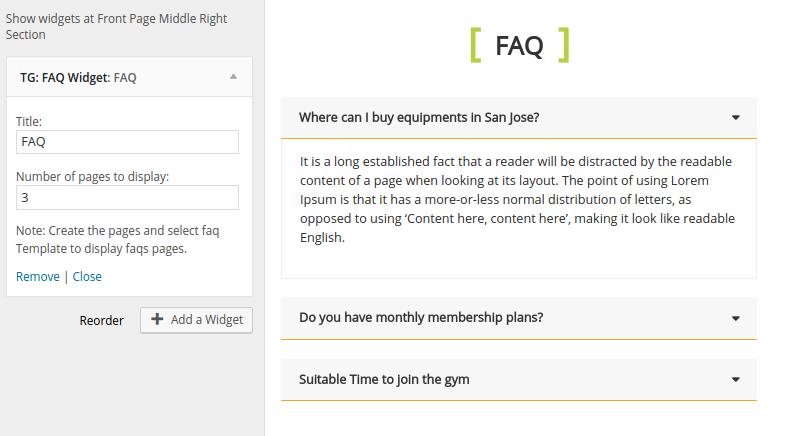 FAQ Widget FitClub