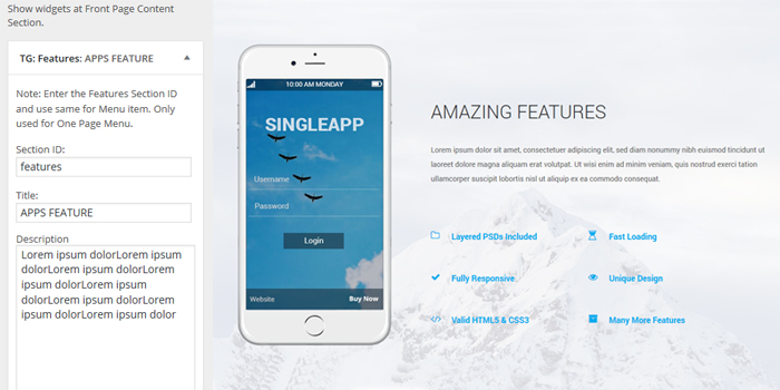 singleapp features widgets fullpage