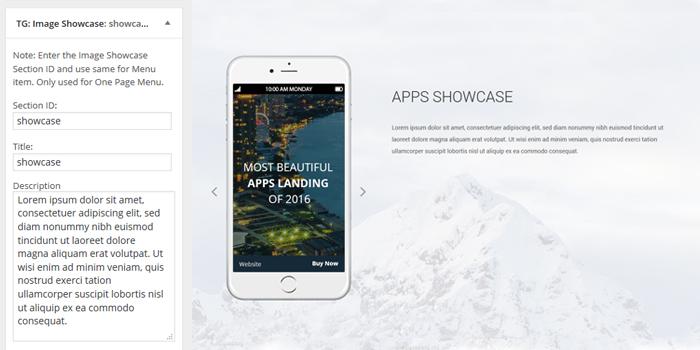 Singleapp Image Showcase Widget fullpage