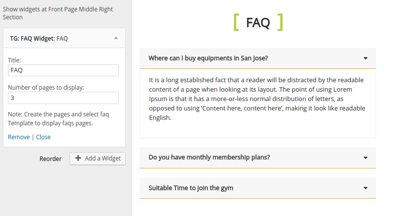 FAQ Widget FitClub