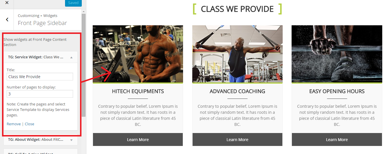 Fitness Club Services WordPress