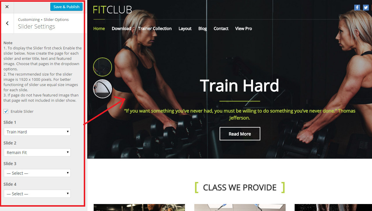 Fitness WP Theme Slider