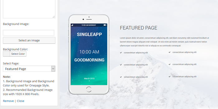 singleapp featured page fullpage widgets